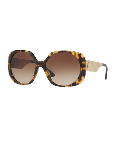 Gradient Embossed Butterfly Sunglasses, Brown Tortoise