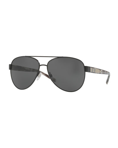 Monochromatic Aviator Sunglasses, Black