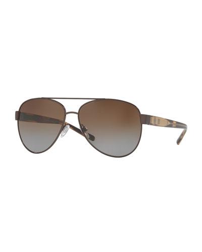 Gradient Polarized Aviator Sunglasses, Brown
