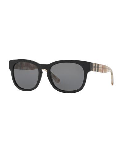 Monochromatic Polarized Square Sunglasses, Black