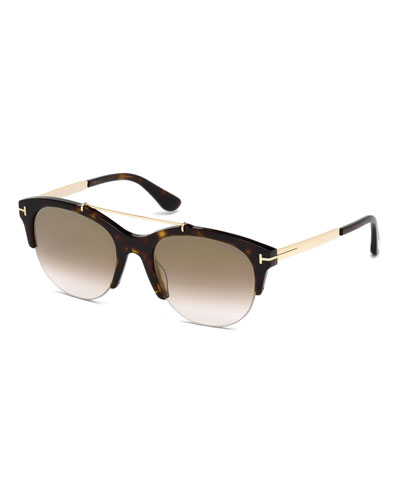 Adrenne Gradient Semi-Rimless Brow-Bar Sunglasses, Brown