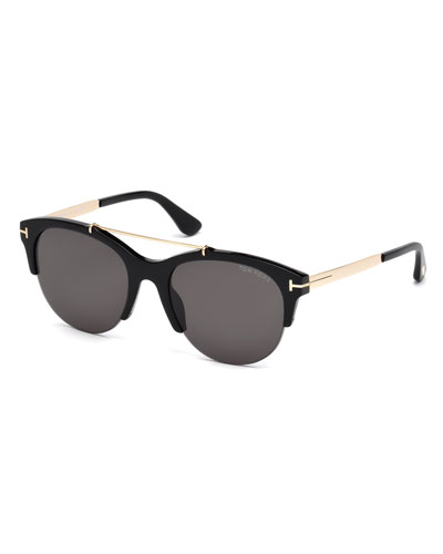 Adrenne Monochromatic Semi-Rimless Brow-Bar Sunglasses, Black