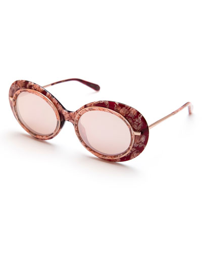 Iris Mirrored Oval Sunglasses, Pink/Rose Gold