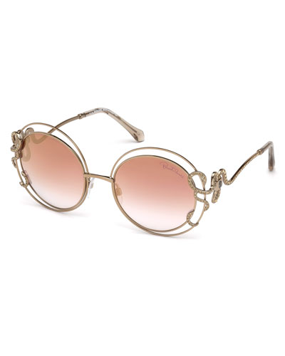 Round Open-Inset Snake Sunglasses, Gold/Brown