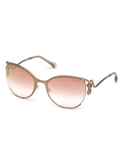Semi-Rimless Square Snake Sunglasses, Rose Gold/Pink