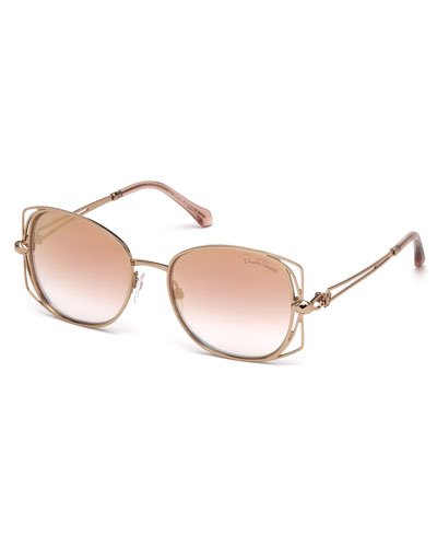 Square Metal Open-Inset Sunglasses, Rose Gold/Pink