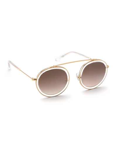 Conti Gradient Aviator Sunglasses, Black/White/Gold
