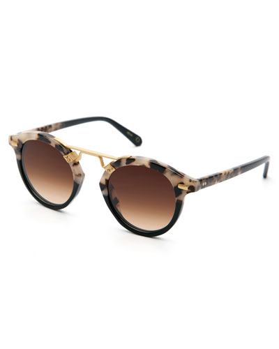 STL II Round Two-Tone Sunglasses, Black/Tortoise