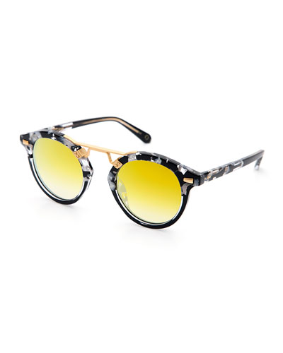 STL II Round Mirrored Sunglasses, Black