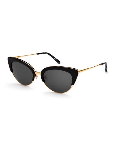 Josephine Monochromatic Cat-Eye Sunglasses, Black