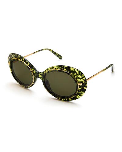 Iris Monochromatic Oval Sunglasses, Green