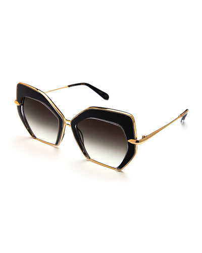 Octavia Geometric Sunglasses, Black