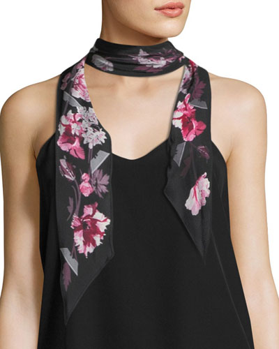 Floral Super Skinny Silk Scarf, Pink/Black