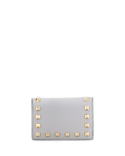 Rockstud Small Full-Flap Card Case, Gray