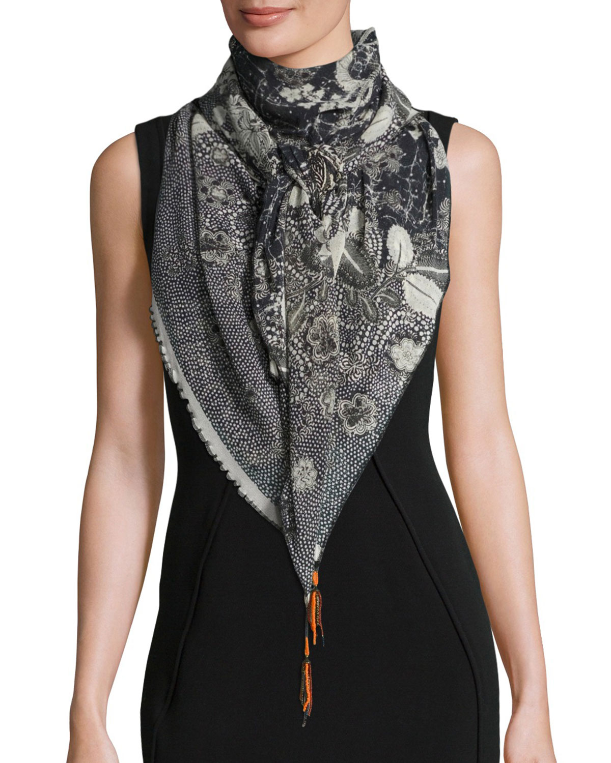 Bead-Trim Batik Tulle Scarf, Black/White