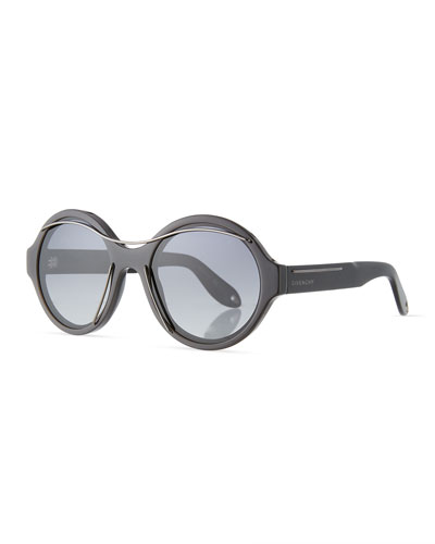 Round Acetate Sunglasses w/Metal Wires, Black