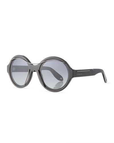 Round Acetate Sunglasses w/Metal Wires, Black