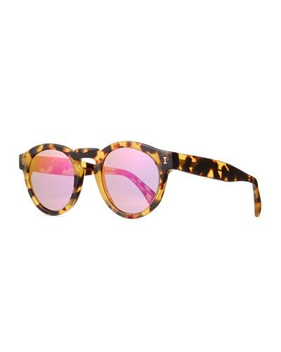 Leonard Mirrored Round Acetate Sunglasses