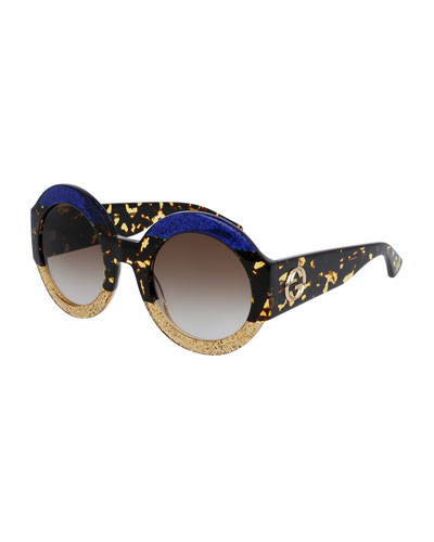 Glittered Oversized Round Sunglasses, Blue/Beige/Tortoise