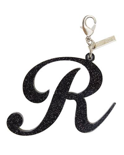 Alphabet R Bag Charm, Starlight Silver