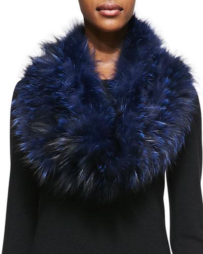 Layered Fox Fur Cowl Collar, Navy