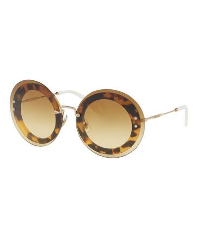 Round Overlay Sunglasses, Light Havana