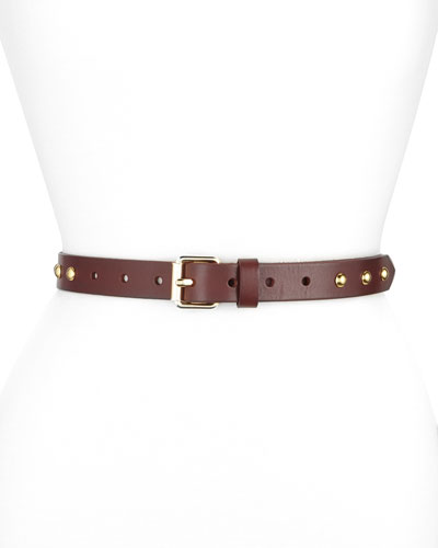 Dome-Stud Flat Strap Leather Belt, Black