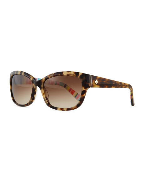 kate spade new york johanna gradient butterfly sunglasses, havana