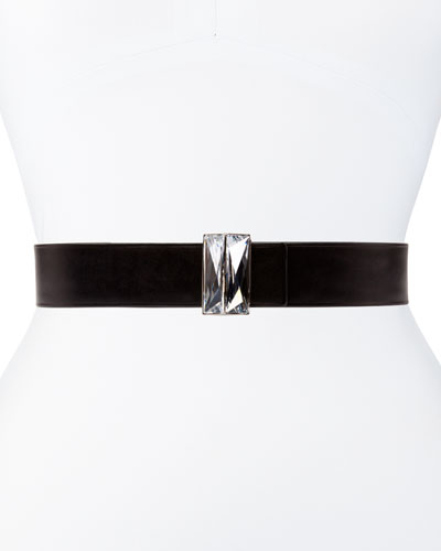 Belt with Inlay Buckle, Black