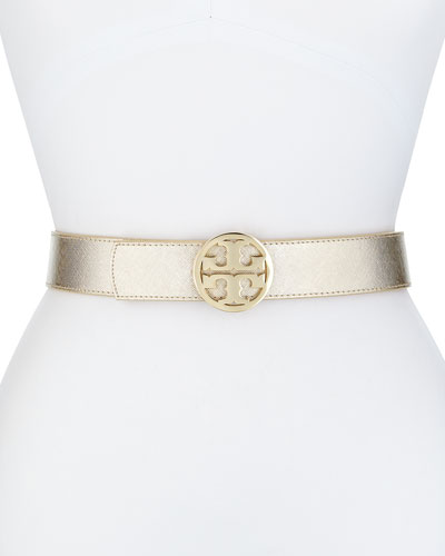 Reversible Logo Leather Belt, Gold/Camel