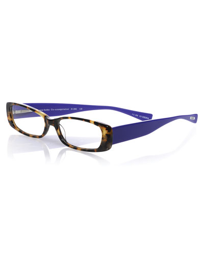 Co-Conspirator Rectangular Two-Tone Readers, Tokyo Tortoise/Violet