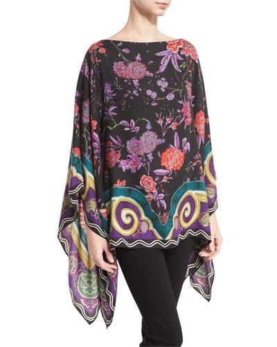 Floral Cashmere-Blend Poncho, Black/Violet/Multi