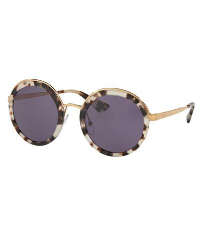Trimmed Monochromatic Round Sunglasses