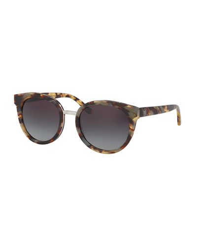 Gradient Round Sunglasses, White Tortoise