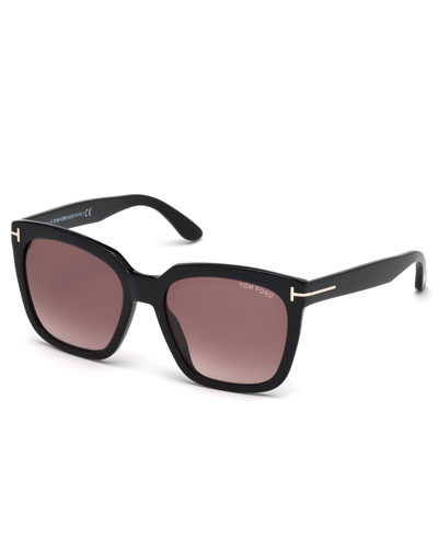 Amarra Square Acetate Sunglasses, Black/Burgundy