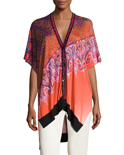 Stampa Embroidered-Trim V-Neck Poncho Cardigan, Orange/Purple