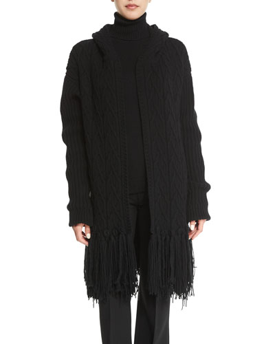 Fringed Cable-Knit Cashmere-Blend Coat, Black