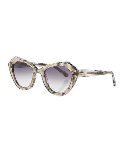 Bilbao Mirrored Geometric Cat-Eye Sunglasses
