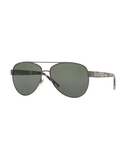 Metal Check-Trim Aviator Sunglasses