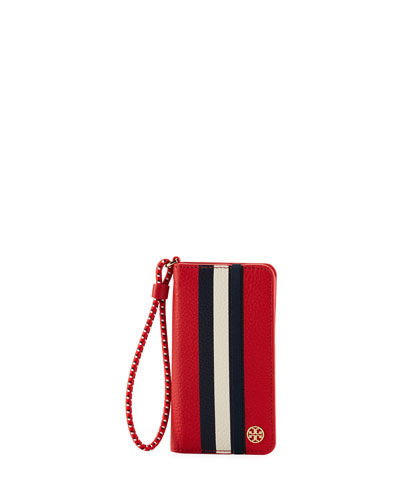 Scallop Stripe Folio iPhone 7 Case, Red