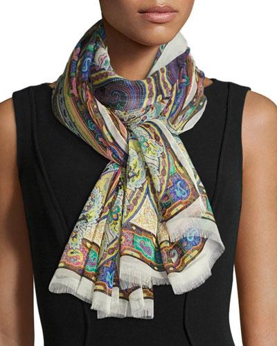 Paisley Silk Chiffon Scarf, White/Multicolor