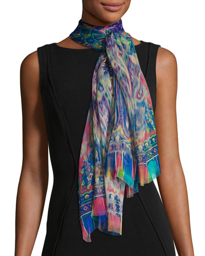 Blurred Paisley Silk Chiffon Scarf, Rose