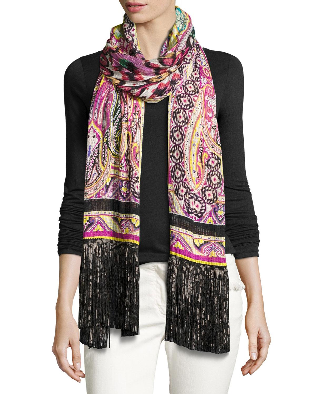 Silk Batik Paisley Fringe Scarf, Black/Pink