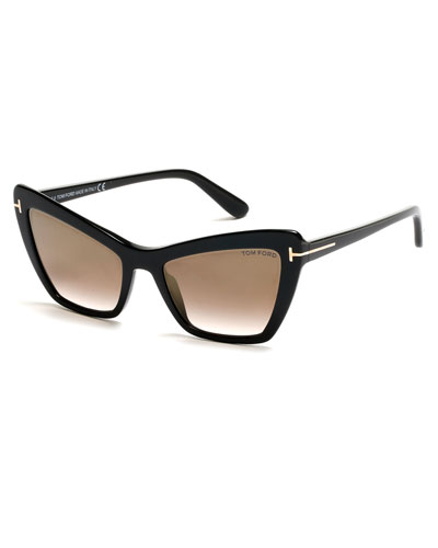 Valesca Cat-Eye Flash Sunglasses, Gold/Black