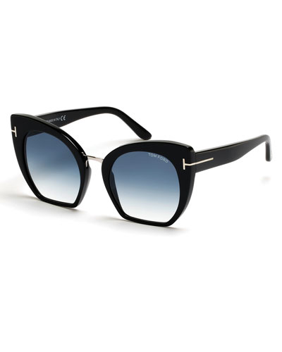 Samantha Cropped Cat-Eye Sunglasses, Turquoise/Black