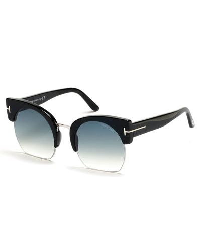 Savannah Semi-Rimless Cropped Round Sunglasses, Turquoise/Black