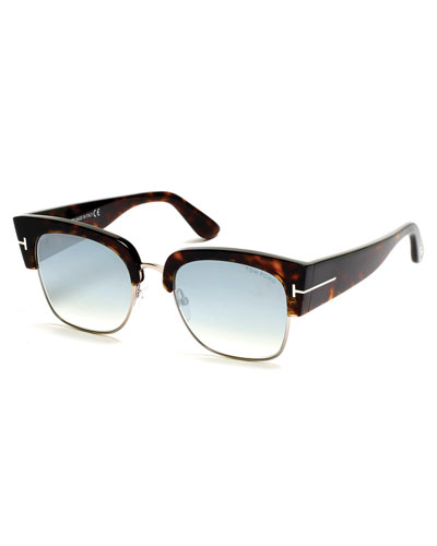 Dakota Semi-Rimless Cat-Eye Flash Sunglasses, Turquoise/Dark Havana
