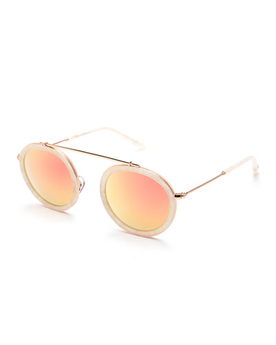 Conti Matte Mirrored Aviator Sunglasses, Pearl