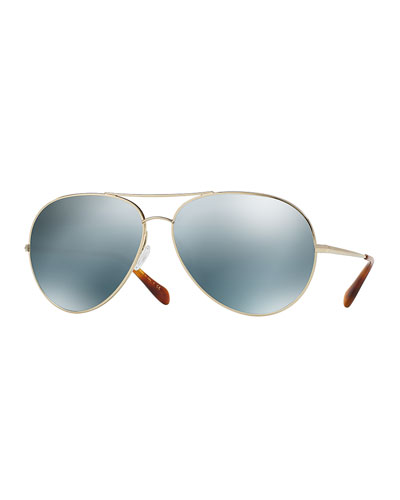 Sayer Mirrored Aviator Sunglasses, Silver