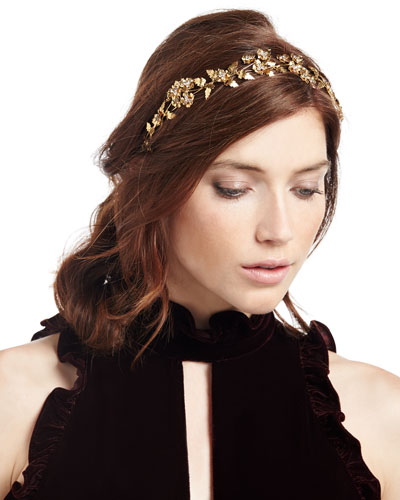 Aveline Floral Circlet Headband, Gold